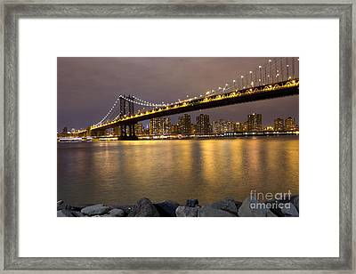 Manhattan Bridge Lights  Framed Print by Leslie Leda