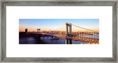 Manhattan Bridge, Nyc, New York City Framed Print by Panoramic Images