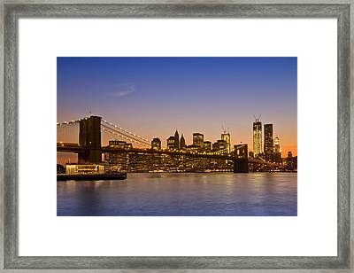 Manhattan Brooklyn Bridge Framed Print by Melanie Viola