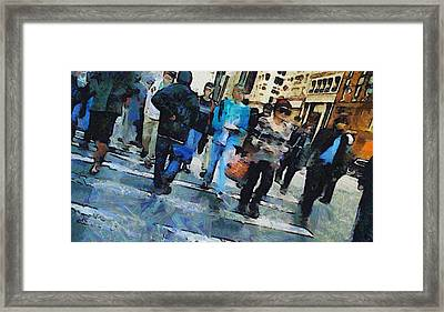 Manhattan Crosswalk Framed Print by Dan Sproul