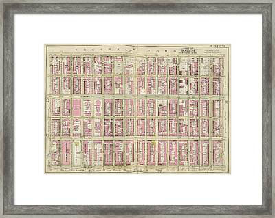 Manhattan, Double Page Plate No. 28 Map Bounded By 5th Ave Framed Print by Litz Collection