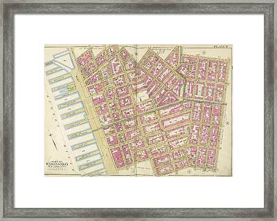 Manhattan, Double Page Plate No. 9 Map Bounded By Charles Framed Print by Litz Collection