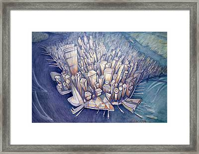 Manhattan From Above, 1994 Oil On Canvas Framed Print