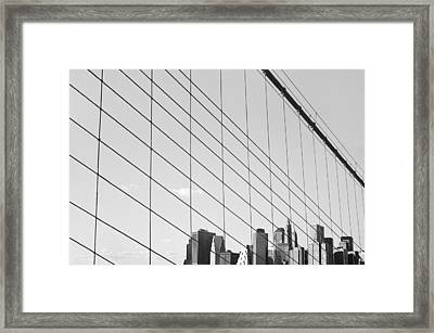 Manhattan From Brooklyn Bridge Framed Print by Ilker Goksen