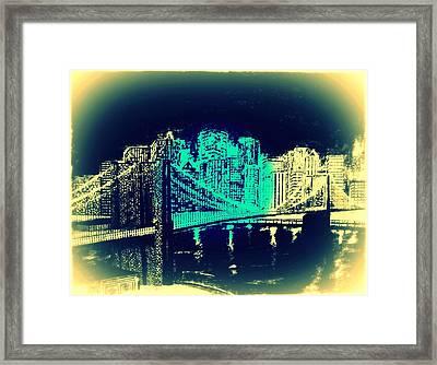 Manhattan In Blue Framed Print by Irving Starr