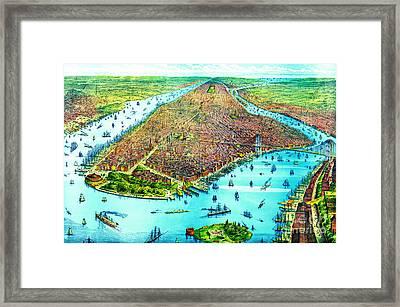 Manhattan Island 1879 Framed Print by Padre Art