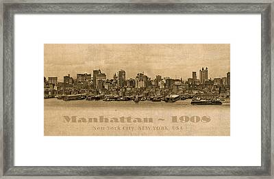 Manhattan Island New York City Usa Postcard 1908 Waterfront And Skyscrapers Framed Print by Design Turnpike