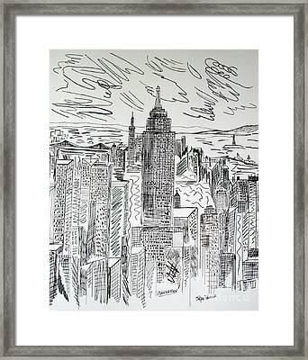 Manhattan Framed Print by Janice Rae Pariza