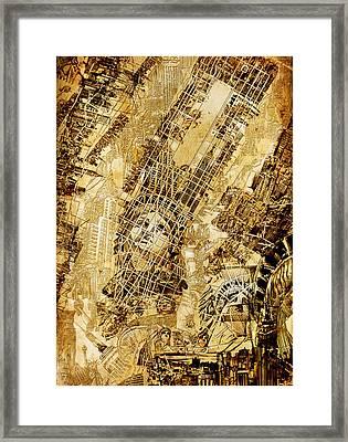 Manhattan Map Antique Framed Print by Bekim Art