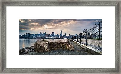 Manhattan Over The Hudson Framed Print by Chris Halford