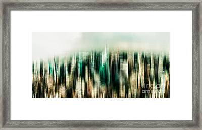 Manhattan Panorama Abstract Framed Print by Hannes Cmarits
