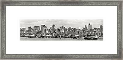 Manhattan Panorama Circa 1908 Framed Print by Jon Neidert
