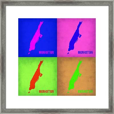 Manhattan Pop Art Map 1 Framed Print by Naxart Studio