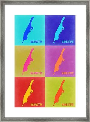 Manhattan Pop Art Map 3 Framed Print by Naxart Studio