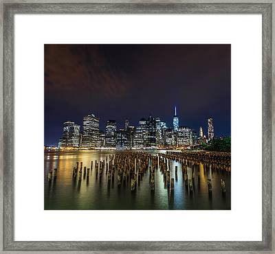 Manhattan Skyline - New York - Usa Framed Print