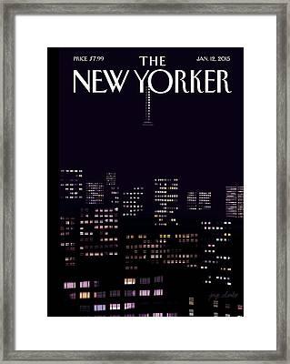 Manhattan Skyline At Night Framed Print