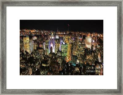 Framed Print featuring the photograph Manhattan Skyline Empire State Wobbles by Andy Prendy