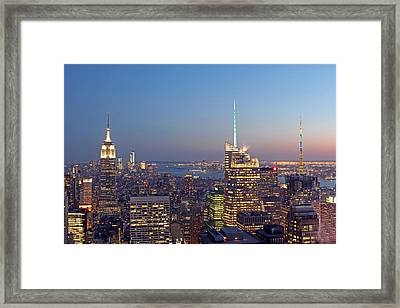 Manhattan Skyline From The Top Of The Rock Framed Print by Juergen Roth