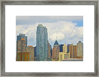 Manhattan Skyline II Framed Print by Galexa Ch