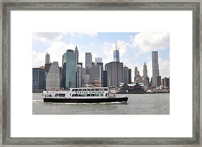 Manhattan Skyline With Boat Framed Print by Diane Lent