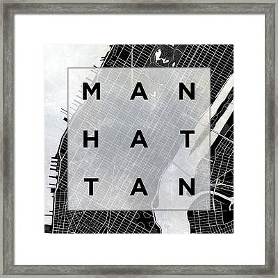 Manhattan Square Bw Framed Print by South Social Studio