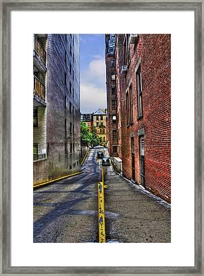 Manhattan Theater District Alley Framed Print by Randy Aveille