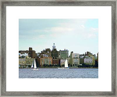 Manhattan - Two Sailboats Against Manhattan Skyline Framed Print by Susan Savad