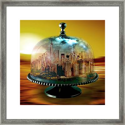 Manhattan Under The Dome Framed Print by Marian Voicu