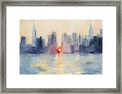 Manhattanhenge New York Skyline Painting Framed Print by Beverly Brown