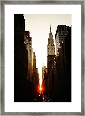Manhattanhenge Sunset And The Chrysler Building  Framed Print