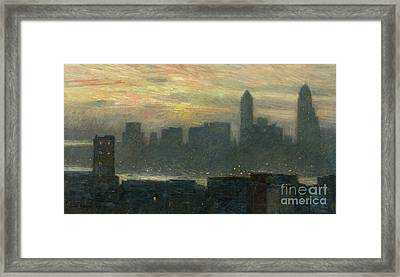 Manhattans Misty Sunset Framed Print by Childe Hassam