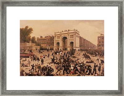 Manhood Suffrage Riots In Hyde Park, 1866 Oil On Canvas Framed Print by Nathan Hughes