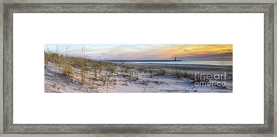 Manistee Beach Sunset Framed Print by Twenty Two North Photography