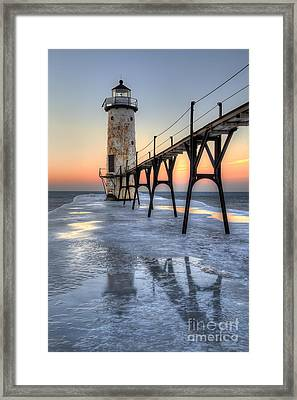 Manistee Lighthouse At Sunet Framed Print by Twenty Two North Photography