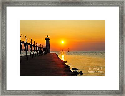 Manistee Lighthouse Sunset Framed Print