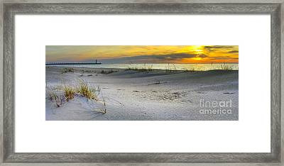 Manistee Michigan Sunset Framed Print by Twenty Two North Photography