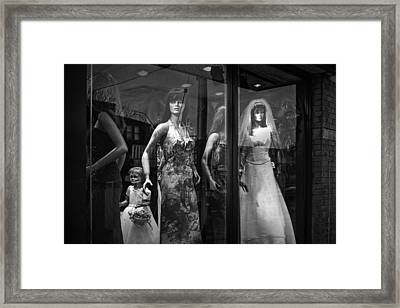 Mannequin Bridal Party In A Window Display Framed Print