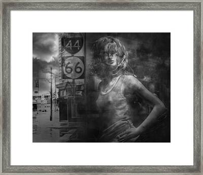 Mannequin In A Window Display With 44 And 66 Road Sign Framed Print