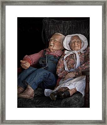 Mannequin Old Couple In Shop Window Display Color Photo Framed Print