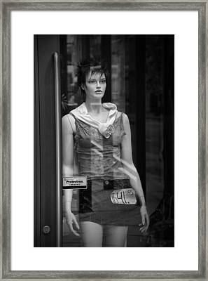 Mannequin Sale Display In A Storefront Window Framed Print