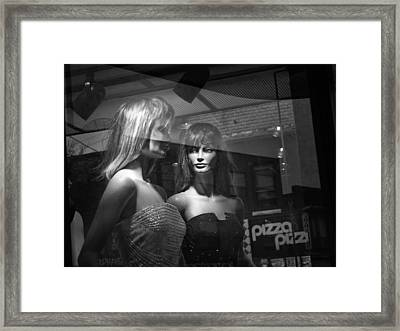 Mannequins In Storefront Window Display With Pizza Sign Framed Print