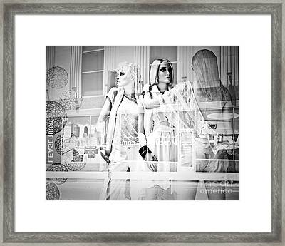 Mannequins In White Framed Print by Sonja Quintero