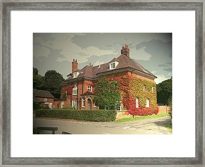 Manor House In Doveridge, Magnificent 19th Century Manor Framed Print by Litz Collection