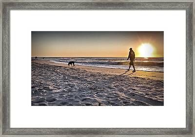Man's Best Friend On Beach Framed Print