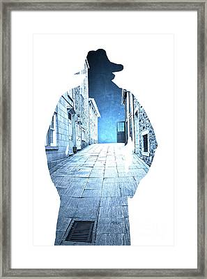 Man's Profile Silhouette With Old City Streets Framed Print