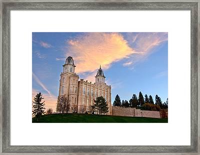 Manti Temple Morning Framed Print by David Andersen