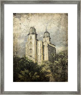 Manti Utah Temple Sentinel Antique Framed Print