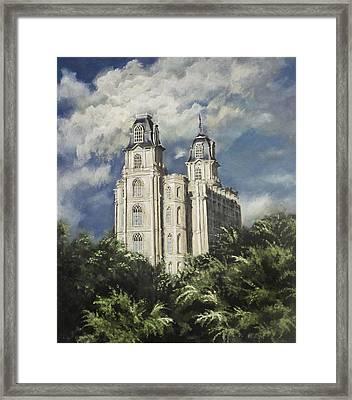 Manti Utah Temple Sentinel Pastel Framed Print