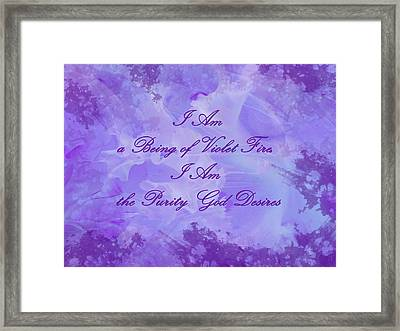Mantra Of Violet Fire Framed Print by Jenny Rainbow
