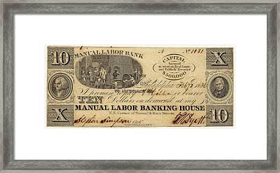 Manual Labor Bank Note Framed Print